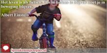 Het leven is als fietsen. Om in balans te blijven moet je in beweging blijven.