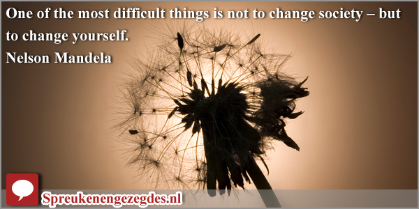 One of the most difficult things is not to change society - but to change yourself. Mandela