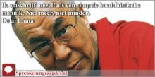 Ik omschrijf mezelf als een simpele boeddhistische monnik. Niet meer, niet minder. Dalai Lama