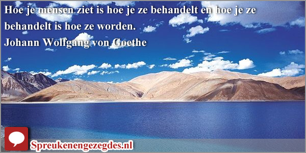Hoe je mensen ziet is hoe je ze behandelt en hoe je ze behandelt is hoe ze worden. Goethe