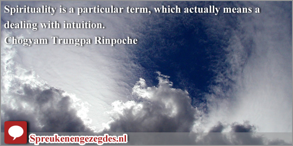 Spirituality is a particular term, which actually means a dealing with intuition. Trungpa Rinpoche
