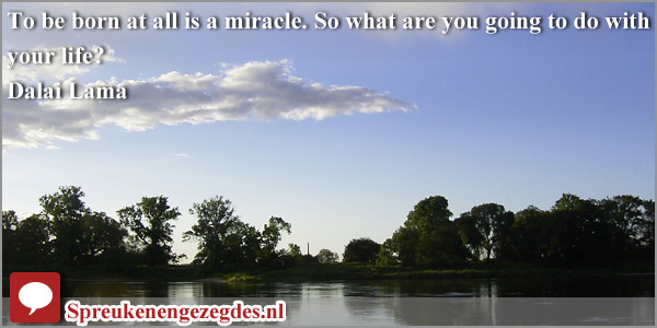 To be born at all is a miracle. So what are you going to do with your life? Dalai Lama